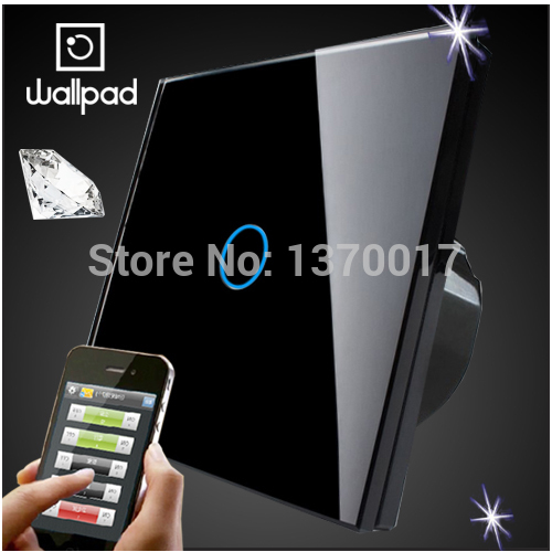 Wallpad Glass Android IOS Wireless remote control light switch,UK Standard 1 Gang Wifi Touch Wall Light Switch,Free Shipping eu 1 gang wallpad wireless remote control wall touch light switch crystal glass white waterproof wifi light switch free shipping