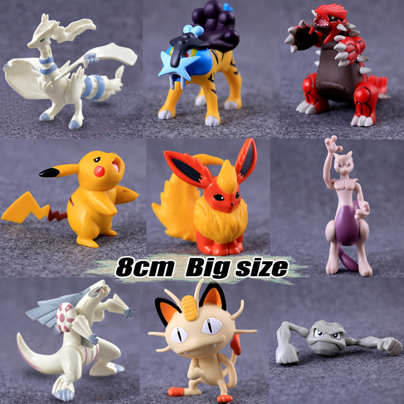 8cm Big size pikachu Flareon Meowth anime cartoon action & toy figures Collection model toy KEN HU STORE 2016 new pikachu action figure hot pikachu toy anime collectible model d