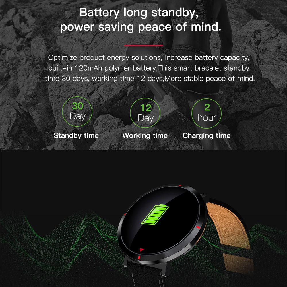 Colorful Screen Display Smart Watches Leather Bracelet Wristband Real-time Heart Rate Blood Pressure Fitness Band with Stopwatch