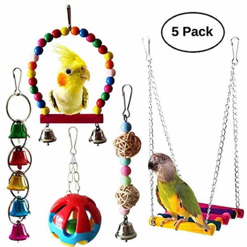 5pcs Parrot Toy Bird Cage Swing Hammock Pet Bird Hanging Bell Hanging Toy Macaw Parrot Love Bird Finches Brids Toy Supplies
