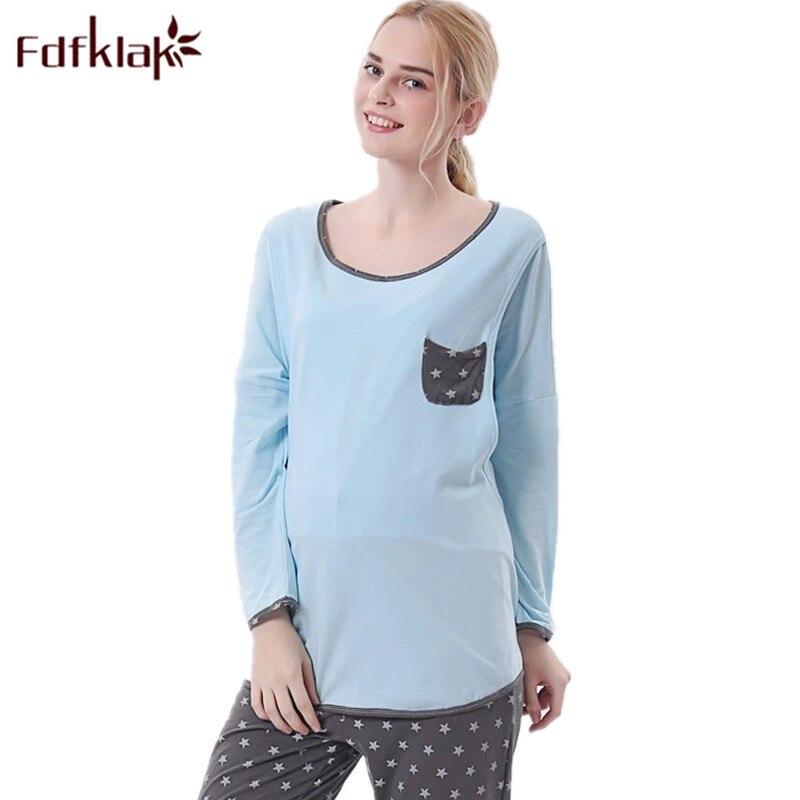 Fdfklak L XL XXL Spring Autumn Pajamas For Pregnant Women Maternity Pajamas Nursing Pijama Long Clothing For Nursing Mom F190