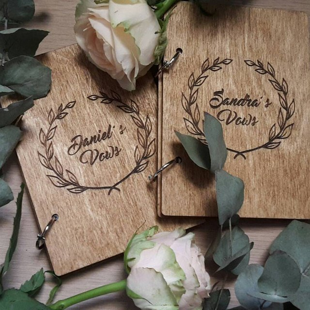 personalize names wood Wedding His Her Rustic Wood Vow Book Set Booklets His & Her Vows books Notebook Set Bridal Shower Gift