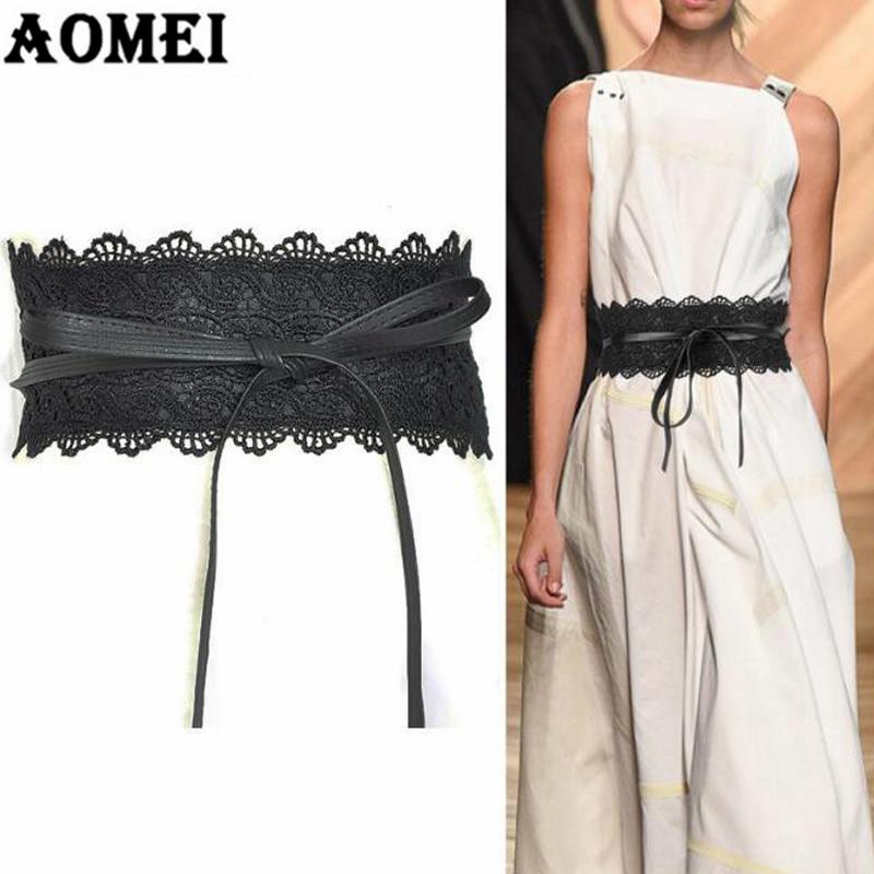 ec9324213d47 Black Lace And Leather Patchwork Wide Waist Belts For Dresses Women ...