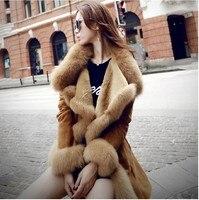 2017 new winter high fashion women's luxurious faux fur coat slim fit Suede Faux Leather long outerwear parkas top quality