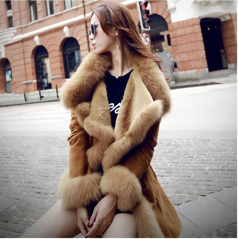 2017 nouveau hiver haute couture femmes luxueux fausse fourrure manteau slim fit daim faux cuir long survêtement parkas top qualité