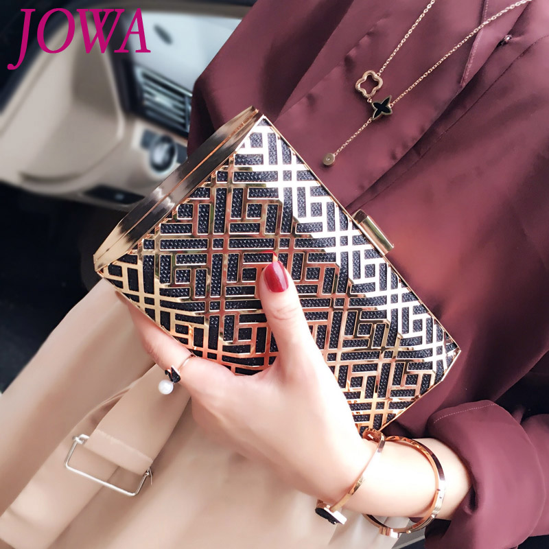 2017 New Design Women's Fashion Evening Bag Metal Hollow-out Mini Handbag Wedding Party Clutch Night Purse Chain shoulder pocket