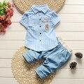 Лето комплект для младенцев с коротким рукавом воротник с полосатый письмо рубашка блузка топы + джинсовые брюки conjunto roupas де bebe