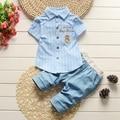 Conjuntos de colar de lapela listrado de manga curta carta verão camisa blusa + Denim Jeans calças conjunto de roupas de bebê