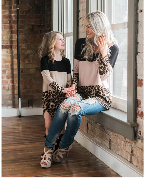 Mother Daughter Matching Outfits Dresses Up Leopard Lace Patchwork Mommy Me Clothes 2018 New Spring Autumn