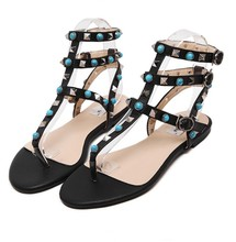 2016 Blue Diamante Rivets Student Preppy Style Girl Flat Sandals Turquoise Thong T Strap Strappy Leather Rome Gladiator Sandals
