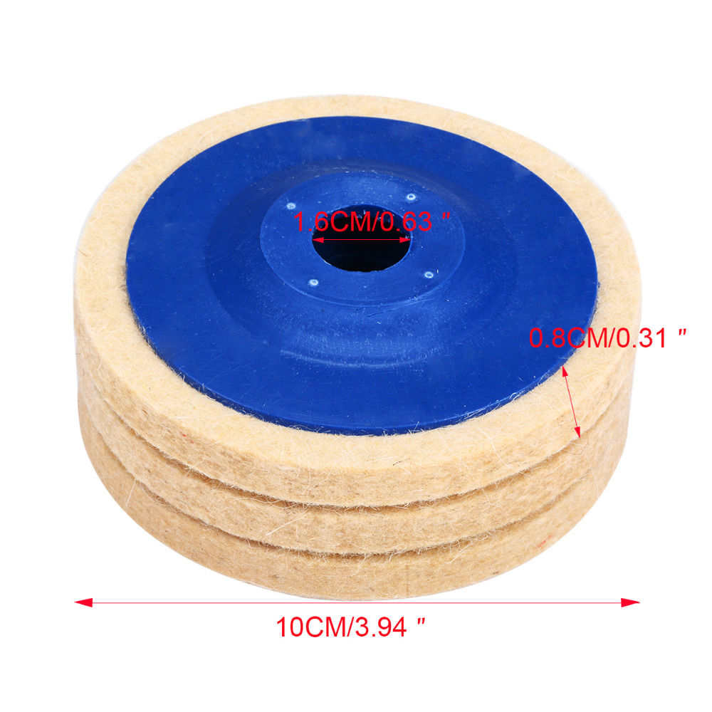Image 4 - 3pcs 4 Inch Wool Polishing Pads Buffing Angle Grinder Wheel Felt 100mm Polishing Disc Pad Set Useful Abrasive Tools-in Abrasive Tools from Tools