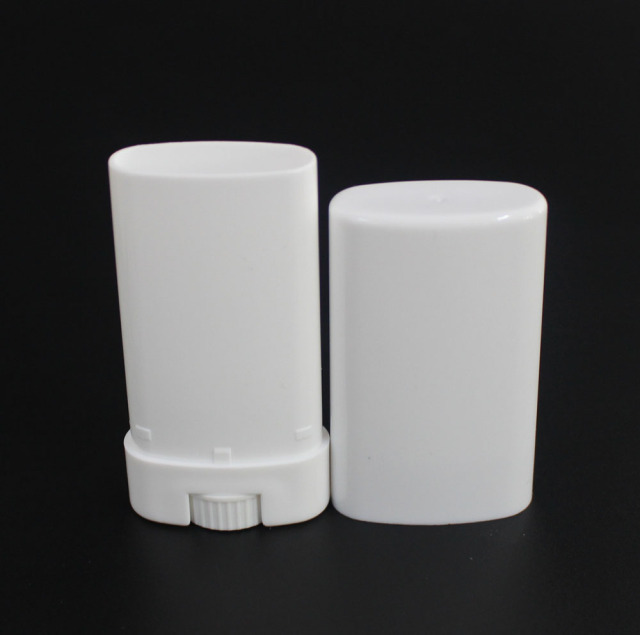 5pcs 15g 15ml Empty Oval Lip Balm Tube Plastic White Solid Perfume Deodorant Containers Portable Makeup Lipstick Tubes With Lid 2