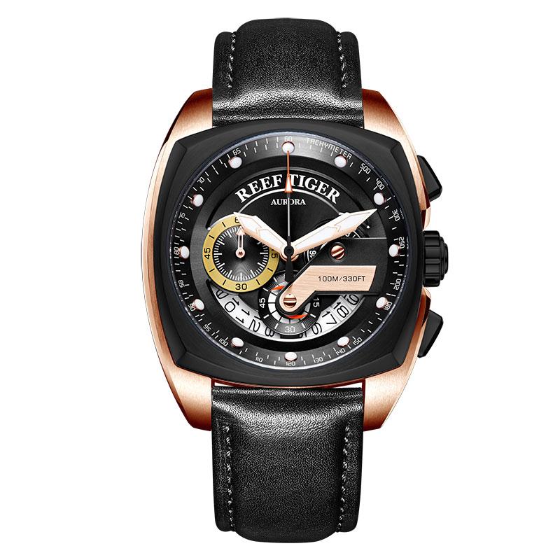 Reef Tiger/RT New Fashion Sport Watch Men Chronograph Quartz Watches Military Watch Waterproof relogio masculino 2019 RGA3363 機械 式 腕時計 スケルトン