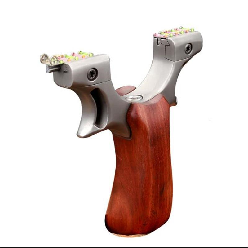Slingshot Puissant Catapult pour La Chasse en acier Inoxydable avec plat En Caoutchouc Bande Tir En Plein Air Jeu de Sport fronde