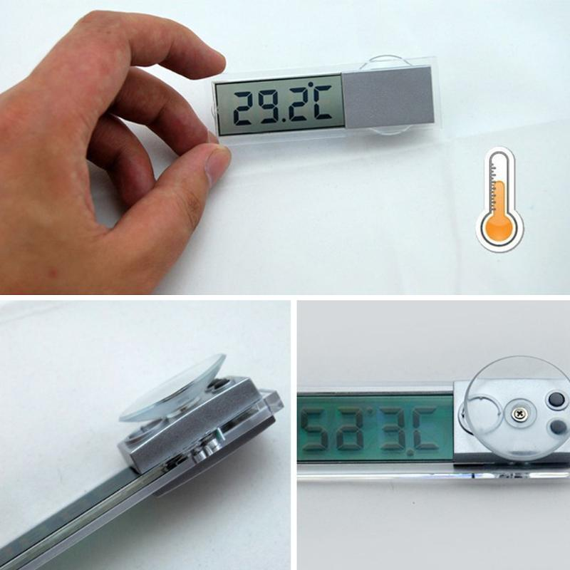 Sucker Type LCD Digital Thermometer Celsius Fahrenheit Temperature Display Mini Auto Thermograph Car Interior Accessories