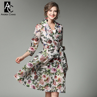 Spring Summer Runway Designer Womans Dresses Lavender Knee Length Dress Red Flower Green Leaf Blue Bird
