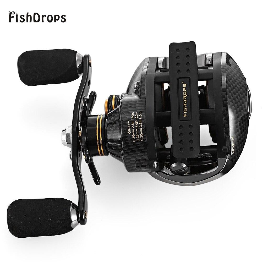 Fishdrops lb200 17 + 1 BB Рыбалка катушка gt7.0: 1 Наживка литья катушки левой и правой руки Рыбалка катушка один способ сцепления Baitcasting катушка