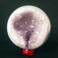 Natural stone agate crystal ball amethyst crystals cluster beautiful decorative ball polished ball agate semi-open sphere best natural dream amethyst crystal sphere ball orb gem stone