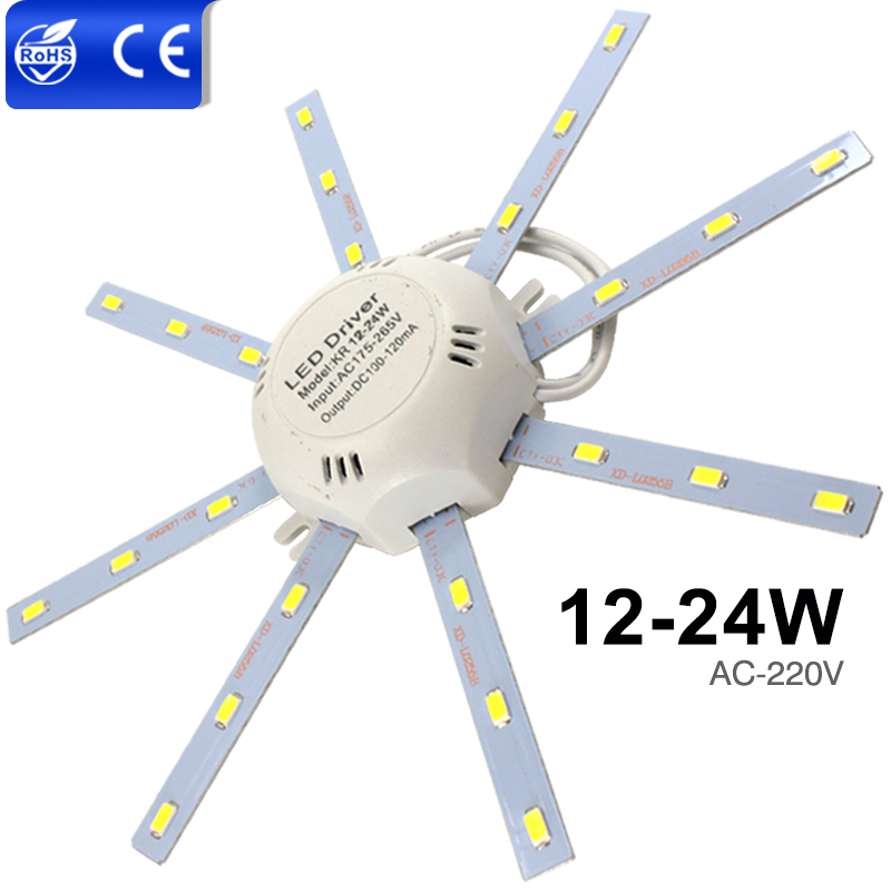 High Bright LED Ceiling Lamp Tube Energy Saving Indoor Lamp Plafon 12W 16W 24W 220V PCB Board Modified Bulb Plate Octopus Lights lan mu led ceiling lamp octopus light
