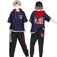 For Anime My Hero Academia Todoroki Shoto Cosplay Hooded T shirt Costume Boku No Hero Academia School Fight Uniform Pants Cloth