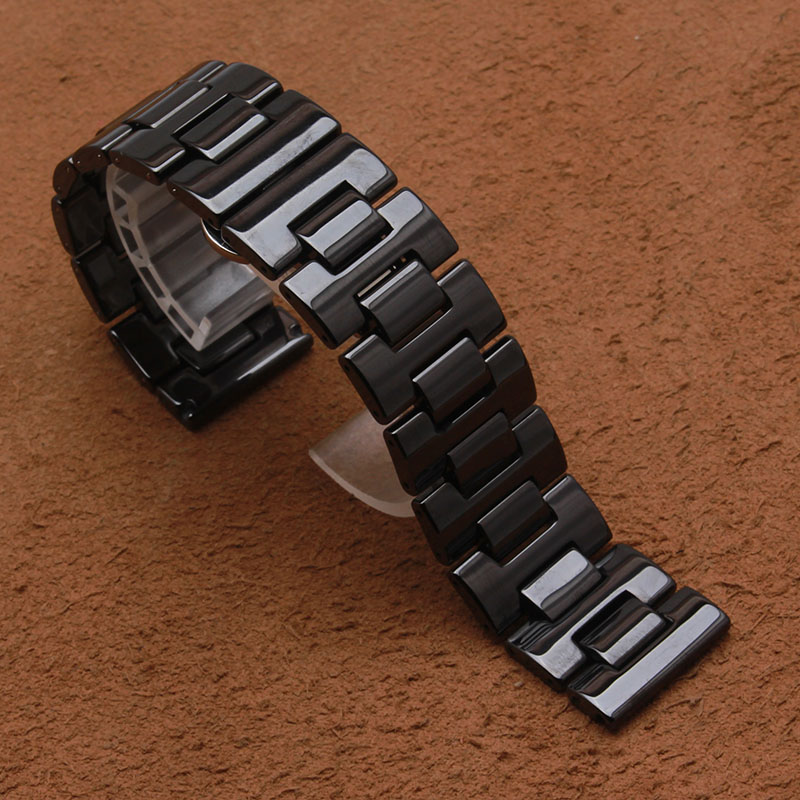 20mm 22mm Black Ceramic Watchband for Samsung Gear S2 Classic R732 & R735 Smart Watch fit Gear S3 Band solid Link Strap Bracelet