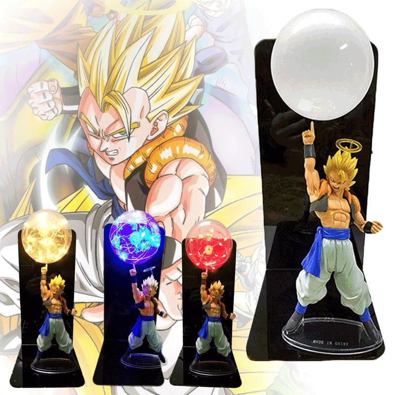 20 cm Dragon Ball Figure végéta Goku lumière Led Gogeta Figuras Dragon Ball Super Saiyan Led lampe de Table DBZ veilleuse décorative