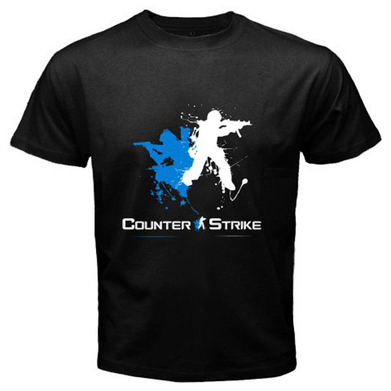 New COUNTER STRIKE Logo Famous Online Games Mens Black T-Shirt Size S to 3XL