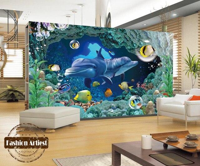 Online Shop Custom 3d kids ocean wallpaper mural live fish dolphin ...