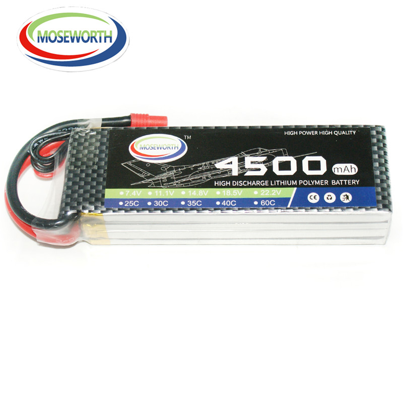 MOSEWORTH RC Lipo Battery 3S 4500mah 11.1V 25C for RC Helicopter Aircraft Drone Boat Car Models Li-ion batteria AKKU 3pcs battery and european regulation charger with 1 cable 3 line for mjx b3 helicopter 7 4v 1800mah 25c aircraft parts