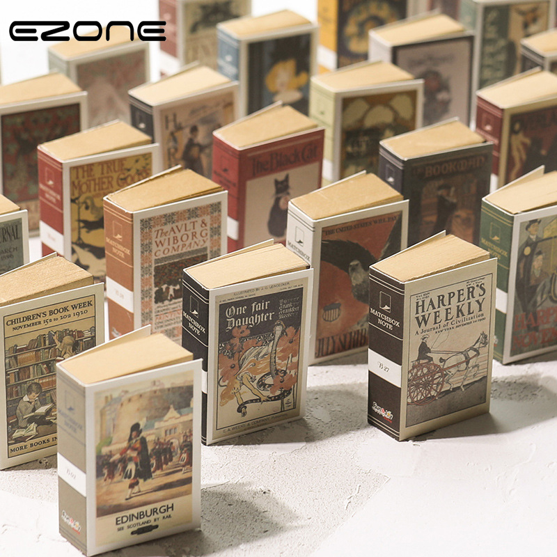 EZONE Vintage Style Matchbox Shape Mini Notebook 244 Pages Portable Memo Pad Creative Students Stationery Gift For Friends New