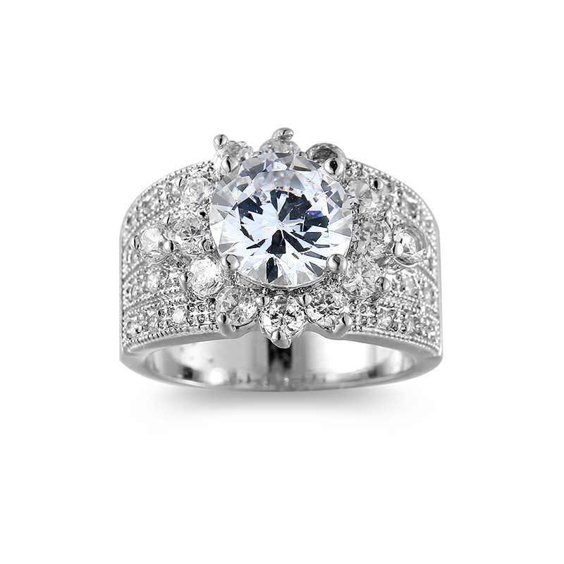 VAMOOSY luxe large anneaux pour femmes hommes anneaux avec ovale 100% réel AAA cubique zircone mode brillant rond CZ anneau bijoux de mode