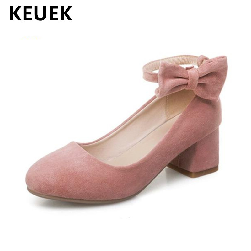 New Spring/Autumn High heeled Shoes Girls Princess Flock Bow Student High heels Children School Kids Performance Shoes 041-in Leather Shoes from Mother & Kids