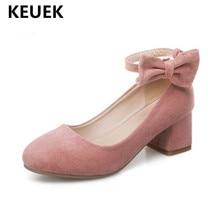 New Spring/Autumn High heeled Shoes Girls Princess Flock Bow Student High heels Children School Kids Performance Shoes 041