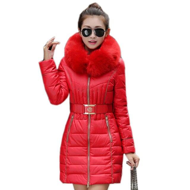 2016 Новая Мода Меховой Воротник Теплое Пальто Женщина Долго Верхняя Одежда Пояса Утолщаются Парки Пуховик Для Женщин Зимнее Пальто WJ2085