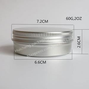 Image 3 - 100 x ריק 60g אלומיניום צנצנת מתכת צנצנת קרם אבקת ג ל שימוש 2 oz בקבוקים קוסמטיים, 60ml אלומיניום מיכל