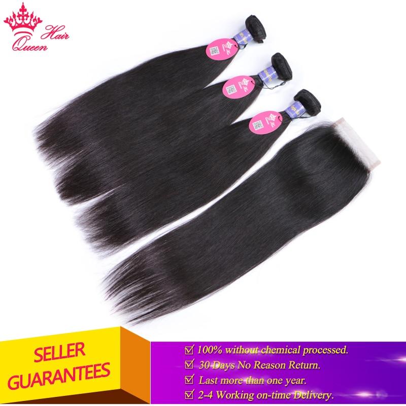Queen Hair Malaysian Straight Hair Lace Closure with Bundles Virgin Human Hair with Closure Can Choose