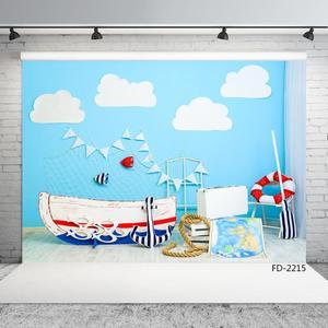 Image 2 - Sailing Boat Map Newborn Baby Photography Backdrops Photographic Studio Vinyl Cloth Photo Background Birthday Decorations Prop