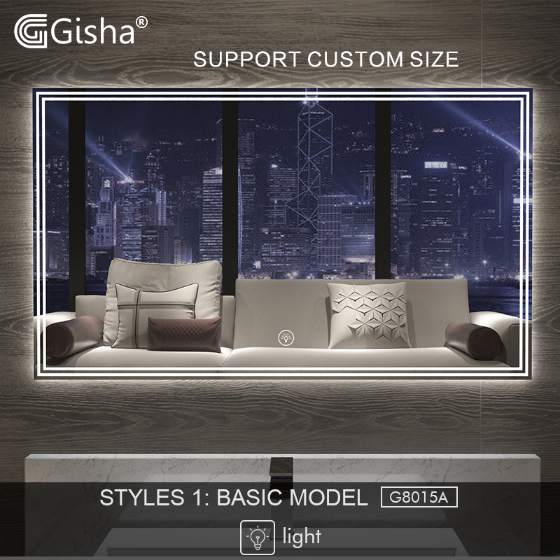Gisha Smart Mirror Led Bathroom Mirror Wall Bathroom Mirror Bathroom Toilet Anti-fog Mirror With Touch Screen Bluetooth G8015 Various Styles Bathroom Fixtures