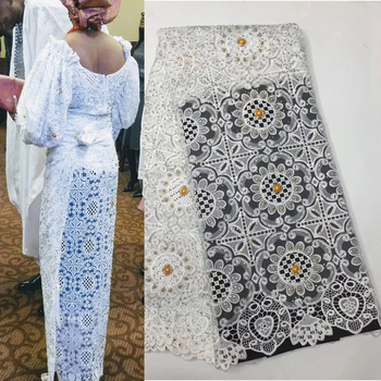 (5yards/pc) soft French net lace fabric wonderful embroidered African tulle lace fabric with lots of stones and beads FLZ803