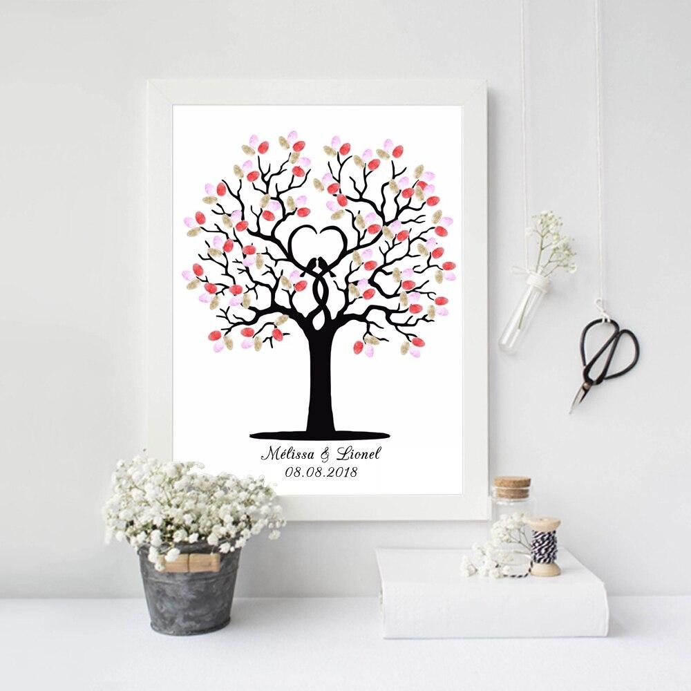 Geräumig Bild Fingerabdruck Sammlung Von Hochzeit Baum Freies Personalized Name Datum Diy