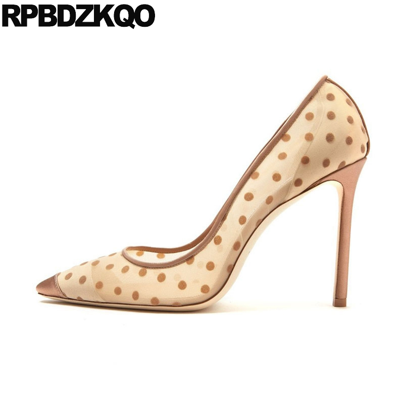 все цены на Pointed Toe Shoes Sexy Pumps Office Designer Size 4 34 Elegant Scarpin 3 Inch Mesh Polka Dot High Heels 2018 Fashion Nude Women
