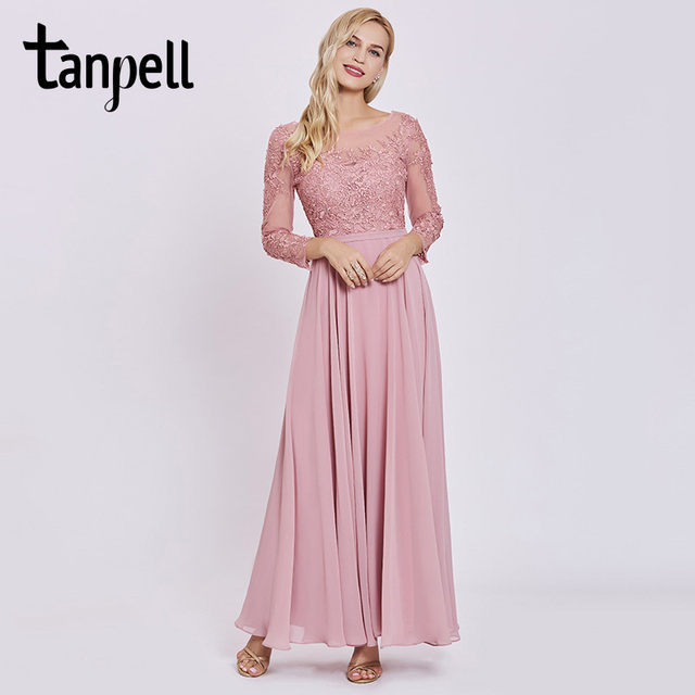 Tanpell long prom dress pink scoop full sleeves floor length a line ...