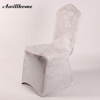 Shipping Free 100pcs Silver Bronzing Spandex Chair Coverwedding Chair Covers Fancy Rose Chair Cover