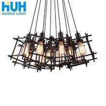Винтажная люстра с железной рамой E27, держатель для лампочек накаливания в стиле лофт, ресторан, бар, кафе, гостиная, ретро, люстры в индустриальном стиле