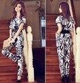 Moda ocidental manga curta Macacões mulheres chiffon Macacão de uma peça-calça Macacão com cinto de presente tamanho M, L, XL o transporte da gota