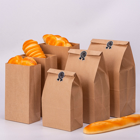 10pcs Kraft Paper Bags Food Tea Small Gift Bags Sandwich Bread Bags Party Wedding Supplies Wrapping Gift Takeout Take Out Bags Lahore