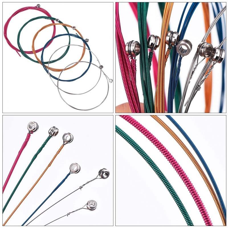 6Pcs/Set Acoustic Guitar Strings Rainbow Colorful Guitar Strings E-A For Acoustic Folk Guitar Classic Guitar Multi Color 1