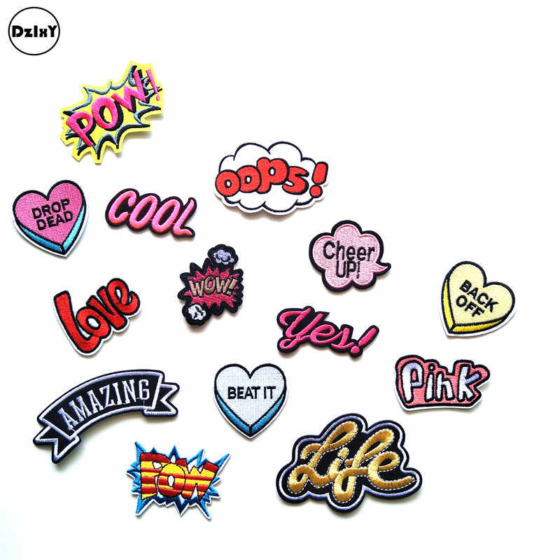 1 PCS Letter Words Embroidered Patches for Clothing DIY Stripes Applique Clothes Stickers Iron on Badges POW Parches @W