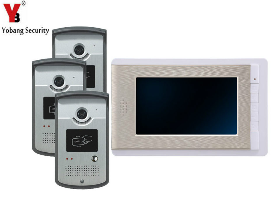 YobangSecurity 7 Inch Video Door Phone Intercom Doorbell Home Entry Intercom System Kit 1 Monitors 3 Camera With RFID ID Keyfobs yobangsecurity video door phone 7 inch doorbell home video entry intercom system 1 monitors 1 camera with rfid keyfob door lock page 8