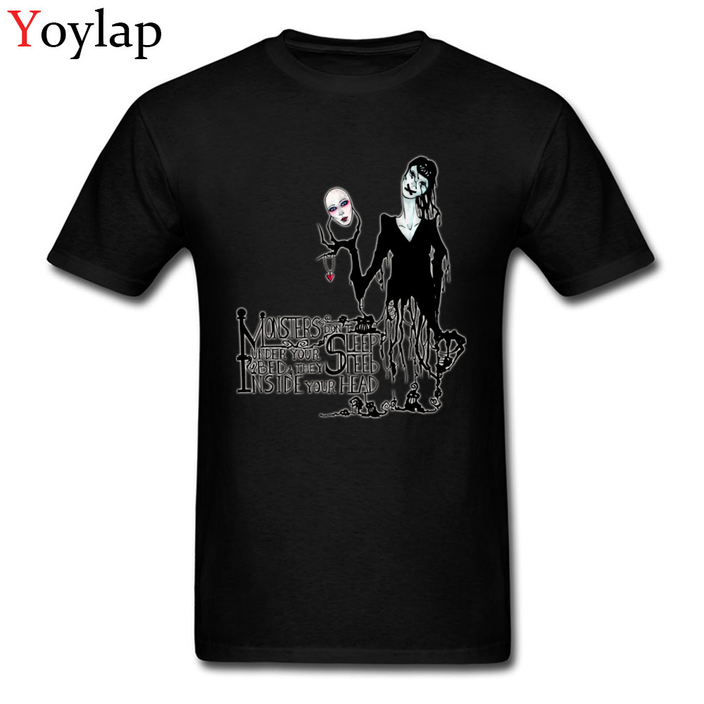 Creepy Design Monsters Don't Sleep Men's T-shirts Tops & Tees Short Sleeve Black White Ghoul Rock & Roll(China)